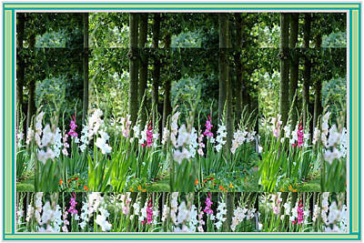 Mixed Media - Horizontal Landscape Style  Flower Garden Collage Large Format Decorations by Navin Joshi