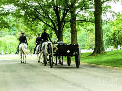 Horse And Caisson Team At Arlington Cemetery Art Print