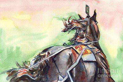 Harness Racing Painting - Horse Art In Watercolor by Maria's Watercolor
