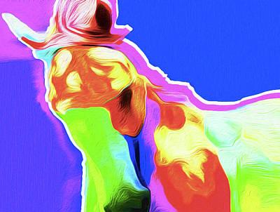 Horse Blue By Nixo Art Print