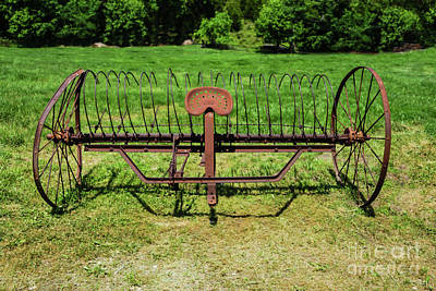 Photograph - Horse Drawn Hay Rake Aged by Jennifer White
