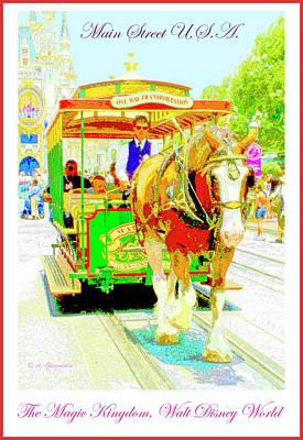 Digital Art - Horse Drawn Trolley Car Main Street Usa by A Gurmankin
