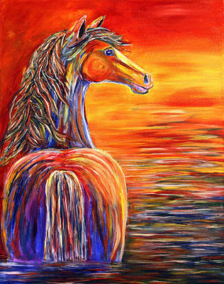 Art Print featuring the painting Horse In Still Waters by Jennifer Godshalk