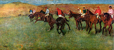 Race Horse Painting - Horse Race Before The Start by Edgar Degas