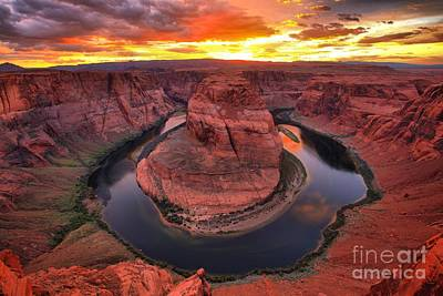Photograph - Horseshoe Bend Fiery Sunset by Adam Jewell