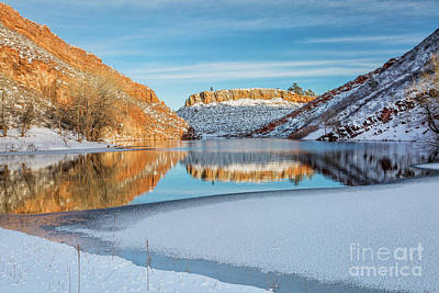 Photograph - Horsetooth Reservoir In Winter Scenery by Marek Uliasz