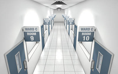 Walkway Digital Art - Hospital Hallway by Allan Swart