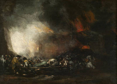 Fire Painting - Hospital On Fire by Francisco Goya