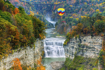 Photograph - Hot Air Balloon Over The Middle Falls At Letchworth State Park by Jim Vallee