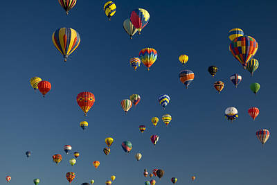 Hot Air Balloons Fly In A Hot Air Art Print by Ralph Lee Hopkins
