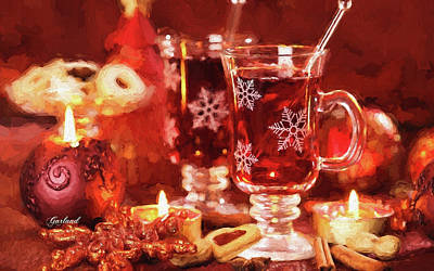 Wine Mixed Media - Hot Drink For Winter And Christmas by Garland Johnson