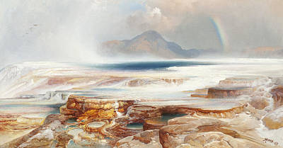 Mountain Painting - Hot Springs Of The Yellowstone by Thomas Moran