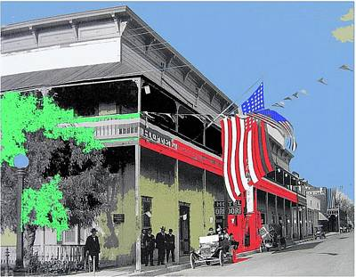 Photograph - Hotel Orndorff Colored American Flags Tucson Arizona Circa 1915-2012 by David Lee Guss