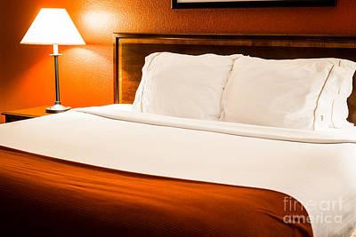 Hotel Room Bed Art Print by Paul Velgos