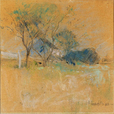 Drawing - House And Tree by John Henry Twachtman