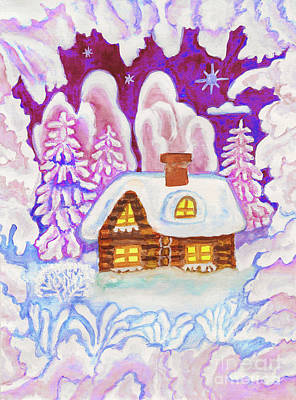 Painting - House In Snow Frame, Painting by Irina Afonskaya