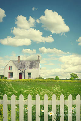 White Fence Photograph - House In The Countryside by Amanda Elwell