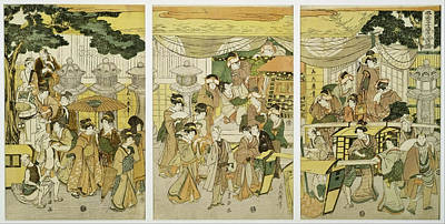 Japanese Silk Painting - House Where Shrimp Are Sold by Utagawa Toyokuni
