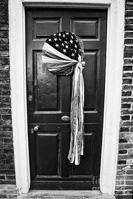 Elfreths Alley Photograph - house with old us flag wreath elfreths alley in the old city of Philadelphia USA by Joe Fox