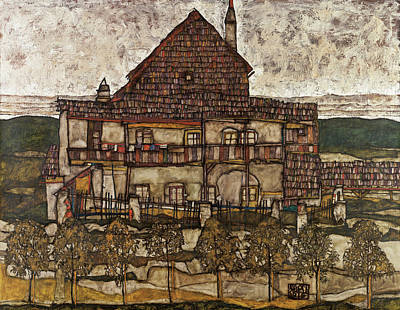 Expressive Painting - House With Shingle Roof, Old House II by Egon Schiele