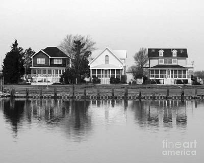 Photograph - Houses By The Bay Black And White by Dawn Gari