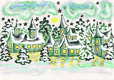 Painting - Houses In Green Colours, Painting by Irina Afonskaya