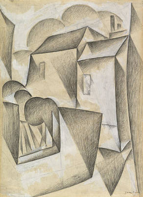 House Drawing - Houses In Paris, Place Ravignan by Juan Gris