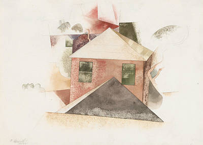 House Drawing - Houses With Red by Charles Demuth