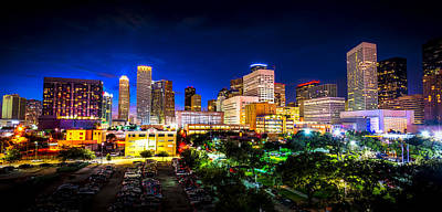 Print featuring the photograph Houston City Lights by David Morefield