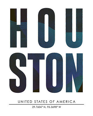 Mixed Media - Houston, United States Of America - City Name Typography - Minimalist City Posters by Studio Grafiikka