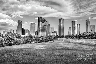 Houston Skyline In Black And White Art Print by Tod and Cynthia Grubbs