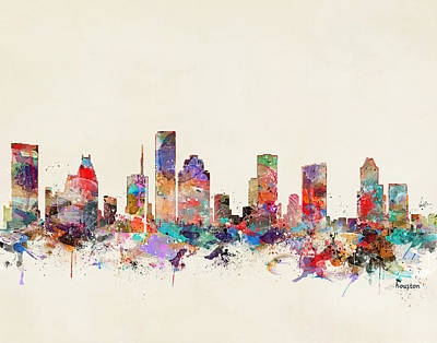 Painting - Houston Texas by Bleu Bri