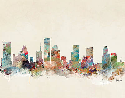 Painting - Houston Texas Skyline  by Bleu Bri