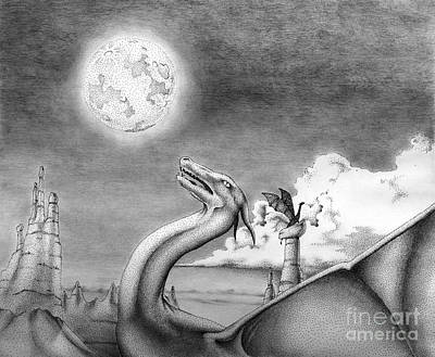 Full Moon Drawing - Howling Moon by Robert Ball