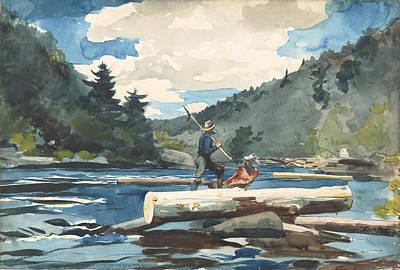 Winslow Homer Drawing - Hudson River, Logging by Winslow Homer