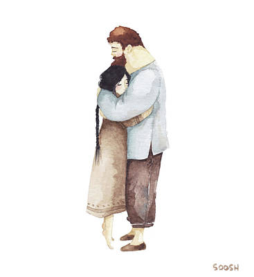 Watercolor Painting - Hug Me by Soosh