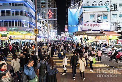 Photograph - Huge Crowd In The Streets Of Mongkok In Hong Kong by Didier Marti