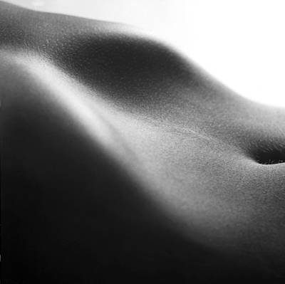 Belly Button Photograph - Human Form Abstract Body Part by Anonymous
