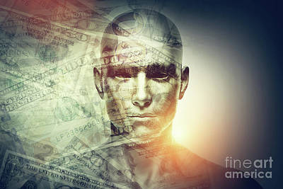 Photograph - Human Man Face And Dollars Double Exposure. by Michal Bednarek