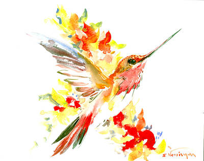 Peach Drawing - Hummingbird And Flame Colored Flowers by Suren Nersisyan