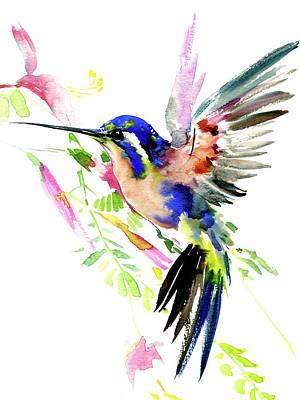 Hummingbird Painting - Hummingbird And Flowers by Suren Nersisyan