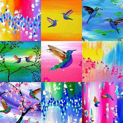Hummingbird Painting - Hummingbird Collage by Cathy Jacobs
