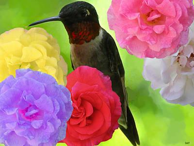Nature An Bird Mixed Media - Hummingbird Flower by Debra     Vatalaro