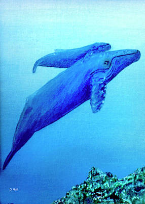 Humpback Mother Whale And Calf #21 Art Print by Donald k Hall