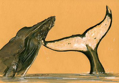 Decals Painting - Humpback Whale Painting by Juan  Bosco