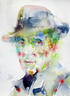 Humphrey Painting - Humphrey Bogart - Watercolor Portrait.4 by Fabrizio Cassetta