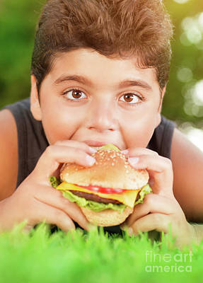 Photograph - Hungry Boy Eating Burger by Anna Om