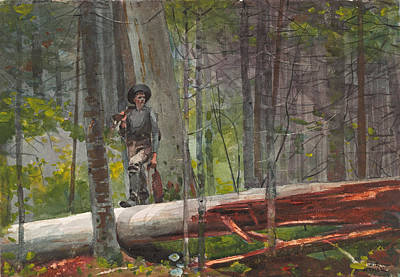 Winslow Homer Drawing - Hunter In The Adirondacks by Winslow Homer
