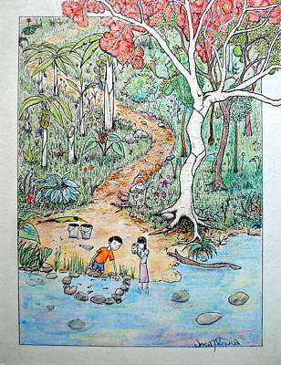 Flamboyan Tree Painting - Hunting For Tadpoles by Josean Rivera