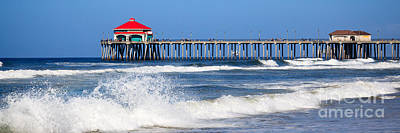 Huntington Beach California Photograph - Huntington Beach Pier Panoramic Photo by Paul Velgos